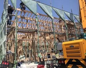 福山市にて新築住宅の上棟