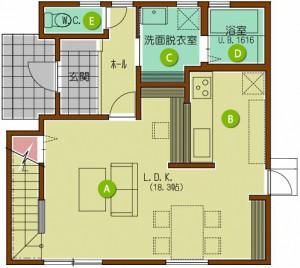家族とともにはぐくむ家 1F平面図