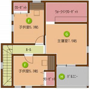 家族とともにはぐくむ家 2F平面図